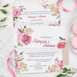 ZAPROSZENIE ślubne kartka z kalendarza ze zdjęciem Różowe Kwiaty