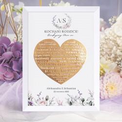 Plakat na upominek dla rodziców. Ze złotym sercem i podziękowaniem. Nowoczesna grafika z kwiatowym motywem.