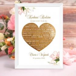 Plakat na prezent dla rodziców. Wzbogacony jest o kwiatową grafikę i złote serce.