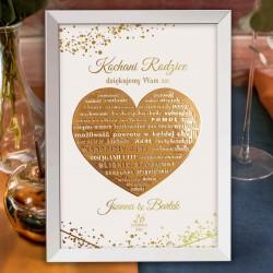 Podziękowanie dla rodziców w postaci personalizowanego plakatu w białym kolorze i ze złotym sercem.