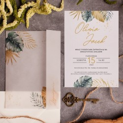 ZAPROSZENIE Ślubne personalizowane Tropical Leaf
