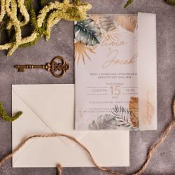Zaproszenie ślubne z motywem tropikalnym i kalkową owijką.
