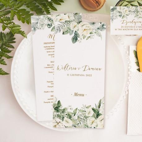 Menu weselne wzbogacone o piękny kwiatowy motyw. Efektowna rozpiska dań na Wasze wesele.
