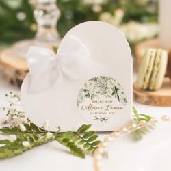 PUDEŁECZKA SERCA personalizowane Białe Kwiaty10szt (+etykiety)