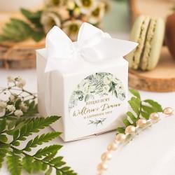 PUDEŁECZKA kwadrat Białe Kwiaty 10szt (+etykiety)