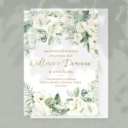 KARTKA z gratulacjami i życzeniami Dla Nowożeńców Białe Kwiaty
