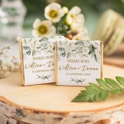 CZEKOLADKA ślubna personalizowana upominek dla gości Białe Kwiaty
