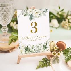 TABLICZKA na stolik z personalizacją Białe Kwiaty