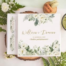 BOMBONIERKA z krówkami Białe Kwiaty SŁODKIE PODZIĘKOWANIE personalizowana