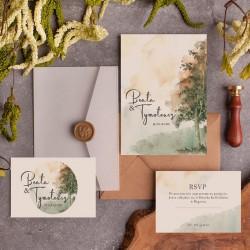 Zaproszenie ślubne z bilecikiem i kopertą z kalki z możliwością dokupienia woskowego laku.