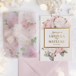 ZAPROSZENIE ślubne ze złoconym tekstem i zdobieniami w dzikie róże na kopercie i w tle na karcie.