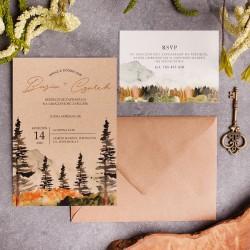 Zaproszenie ślubne z motywem gór i lasu. Na kraftowym papierze