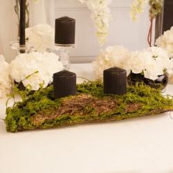 Dekoracja kora we mchu idealny komponent do stworzenia świecznika lub innej ozdoby na salę weselną.
