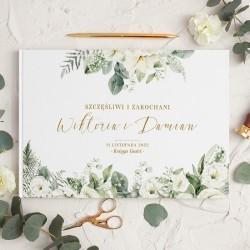 KSIĘGA GOŚCI weselnych Białe Kwiaty BIAŁE/CZARNE KARTKI