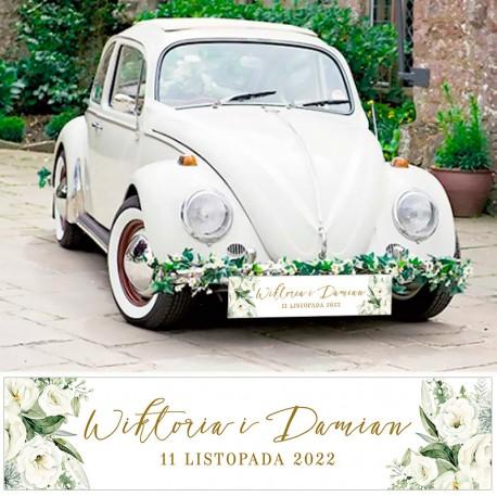 Personalizowana tablica rejestracyjna do auta z grafiką w stylu boho. Idealny dodatek ślubny.
