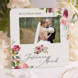 Ramka foto z piękną grafiką z kwiatowym motywem. Idealny prezent ślubny dla pary.