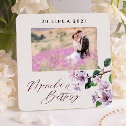 Ramka na foto ślubne, w pięknej kolorystyce. Idealny prezent na ślub dla nowożeńców.