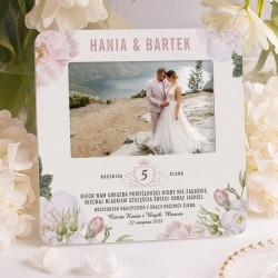 Ramka na fotografię ślubną z personalizacją. Piękny prezent na rocznicę ślubu.