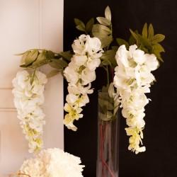 Gałązka potrójna w jasnej kolorystyce z kwiatkami Wisterii. Nowoczesny dodatek do dekoracji sali weselnej.