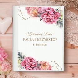 Ślubna teczka na dokumenty związane z weselem. Wykonana ze sztywnego materiału, z piękną grafiką z kwiatami piwonii.