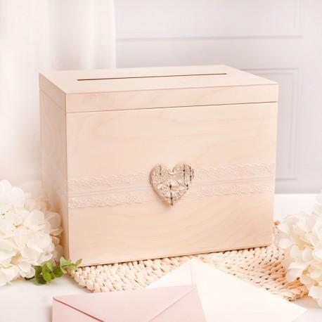 Drewniana skrzynia na koperty i telegramy. Idealny gadżet ślubny, który jest niezbędny.