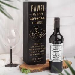 Drewniana skrzynia na alkohol dla świadka. Idealny upominek dla bliskiej osoby na podziękowanie.