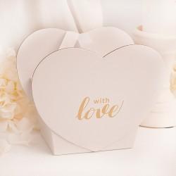PUDEŁKO w kształcie serca ze złotym napisem With Love zapakuj prezent