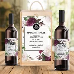Skrzynia na dwa wina dla zaprzyjaźnionej pary. Upominek na rocznicę ślubu w postaci drewnianej skrzyni z personalizacją.