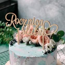 TOPPER dekoracyjny na tort z napisem ROCZNICA ŚLUBU