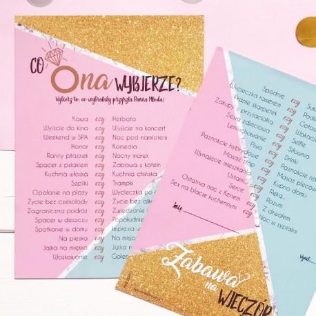 Karty na wieczór panieński wykonane są z wysokiej jakości papieru, w pięknej kolorystyce.