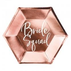 Talerzyki papierowe Bride Squad Ø23cm 6szt RÓŻOWE ZŁOTO