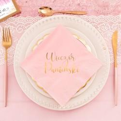 Ozdobne serwetki na Wieczór Panieński w różowym kolorze ze złotym napisem.