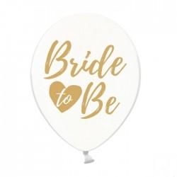 Białe balony lateksowe wzbogacone o nadruk w złotym odcieniu, z napisem Bride to Be.