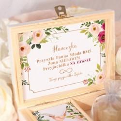 PREZENT dla Panny Młodej w pudełku BRANSOLETKA różowe złoto z grawerem Subtelne Kwiaty