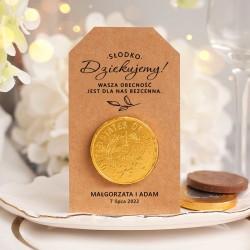MONETA czekoladowa z kraftowym bilecikiem Słodkie Podziękowanie dla gości
