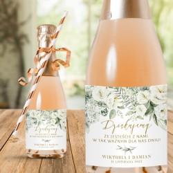 ETYKIETY na mini szampany Podziękowanie dla gości weselnych Białe Kwiaty 10szt