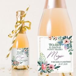 Etykiety na mini szampana z efektowną grafiką. Idealny upominek na Wieczór Panieński.