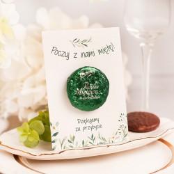 PASTYLKA miętowa w czekoladzie z bilecikiem Podziękowanie dla Gości Greenery