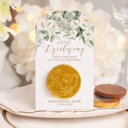 Czekoladowa moneta na podziękowanie dla gości z okazji ślubu. Idealny prezent dla bliskich.