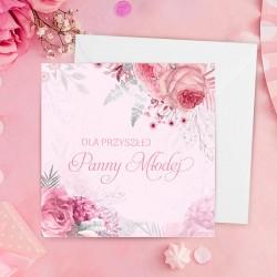 Kartka okolicznościowa w różowym odcieniu. Wzbogacona o kwiatową grafikę. Idealny dodatek na Wieczór Panieński.