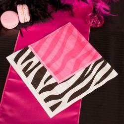 Serwetki papierowe w różowo-czarnej kolorystyce. Idealnie sprawdzą się jako dekoracja na panieński.
