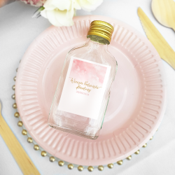 BUTELECZKA na alkohol dla dziewczyn Różowa Akwarela (+etykieta)