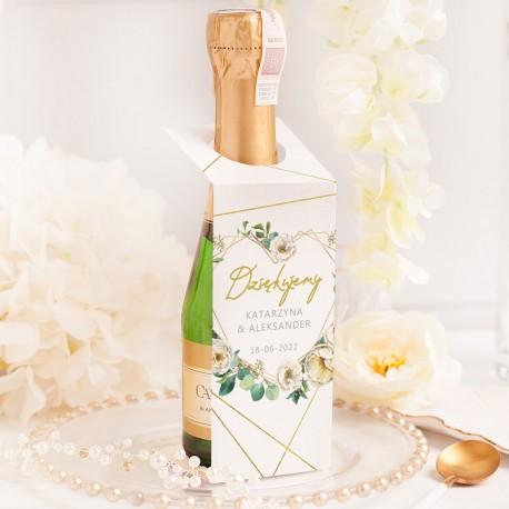 ZAWIESZKA na mini szampana dla gości weselnych Geometryczne Serce