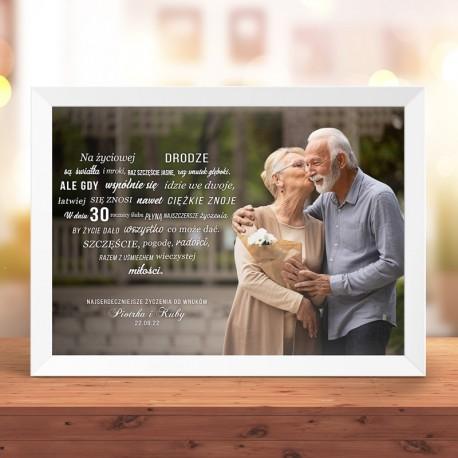 Plakat z życzeniami i zdjęciami dla Pary. Idealny upominek na rocznicę ślubu.