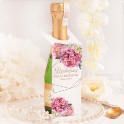 Personalizowana zawieszka na mini szampana. Idealny dodatek na każde wesele.