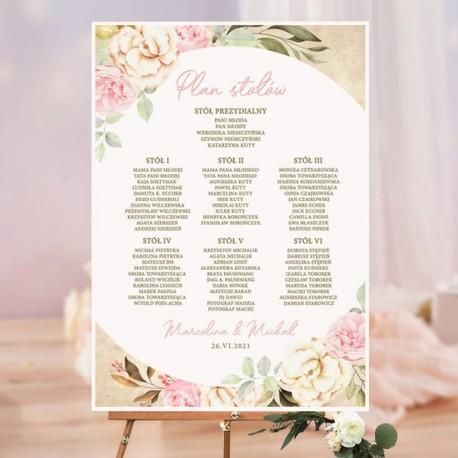Plan stołów na salę weselną. Plakat z listą nazwisk gości i ich rozsadzeniem. Grafika kwiatowa na tle imitującym pergamin.