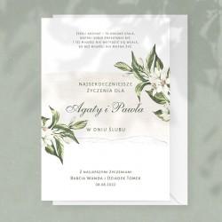 Kartka okolicznościowa na ślub dla młodej pary. Wzbogacona o personalizację.