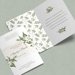 KARTKA ślubna z życzeniami dla Młodej Pary Delikatne Liście