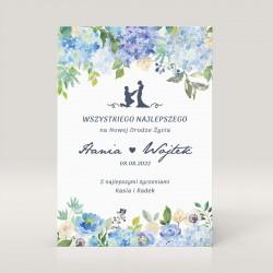 Kartka ślubna dla Pary Młodej z okazji ślubu. Z pięknym niebieskim wzorem.