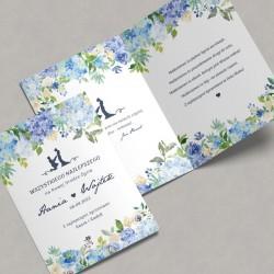 KARTKA ślubna z życzeniami dla Młodej Pary Niebieskie Hortensje